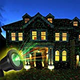 OUTTUO Christmas Light Projector with RF Remote Control Red and Green Star Show Night Light Waterproof for Xmas Holiday Party Landscape Garden Decora