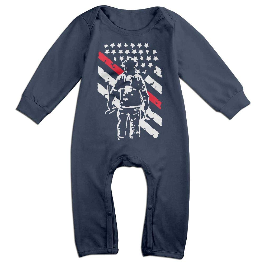 Mri-le1 Toddler Baby Boy Girl Bodysuits Firefighter Thin Red Line Baby Rompers