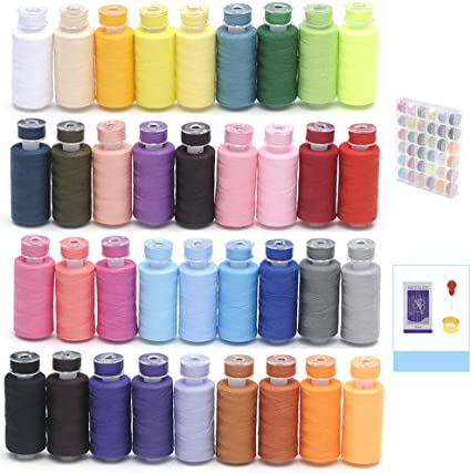 MILIJIA 50Pcs Prewound Bobbins /& Polyester Sewing Threads Kits 25 Colors 550 Yards Per Spools for Hand /& Machine Sewing