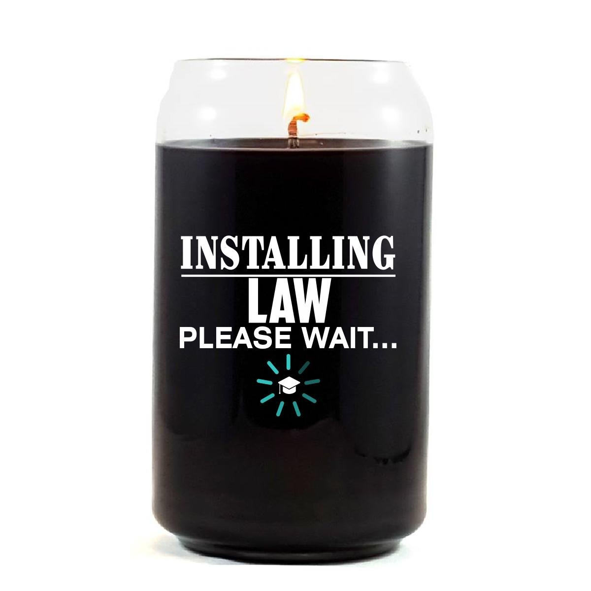 Installing LAW Please Wait College Degree - Scented Candle
