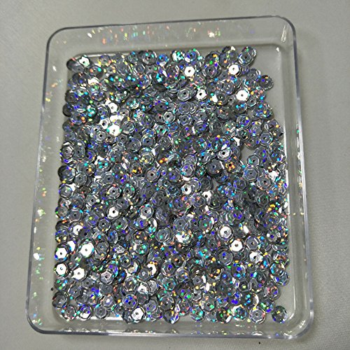 Sparkling 6mm Loose Cup Sequins Paillette Glittering Spangles Beads Bulk Glitter for DIY Sewing Appliques Art Craft Supplies Embroidery Embellishment (60g approx 5000pcs, Laser Silver)