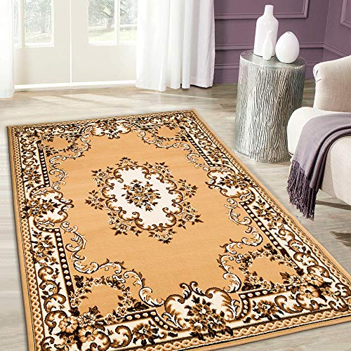 Maxstock Taj Mahal Collection Persian Traditional Design Rectangular Area Rugs -Beige/Black/Ivory/Mocha (5 Feet x 7 ()