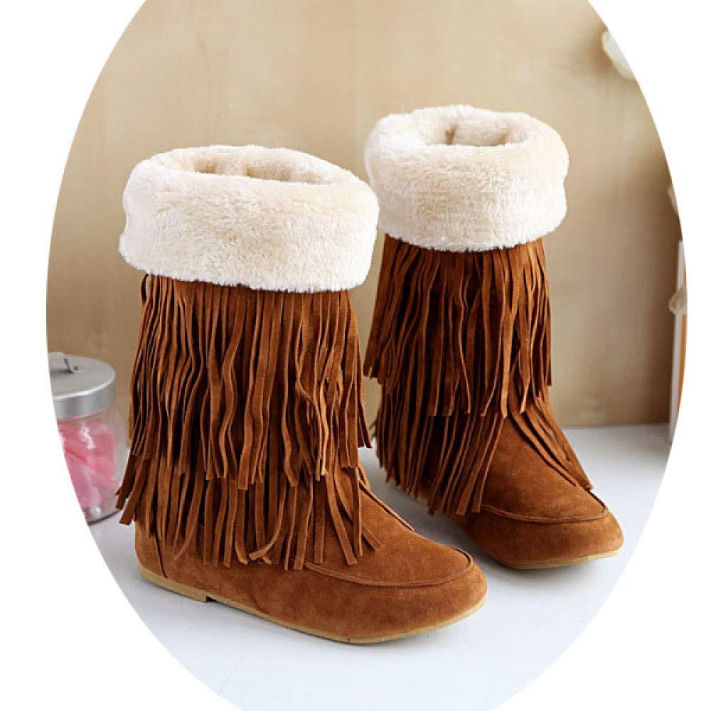 KFDQ Damenstiefel Herbst Und Winter Flache Quasten Baumwolle Schuhe Große Damenstiefel