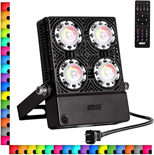 SANSI 30W LED RGB Flood Light with Plug, 16 Colors 4 Modes Dimmable Decorative Party Stage Landscape Light with Remote Control, IP66 Waterproof, Outdoor Indoor Color Changing Floodlight Party Light