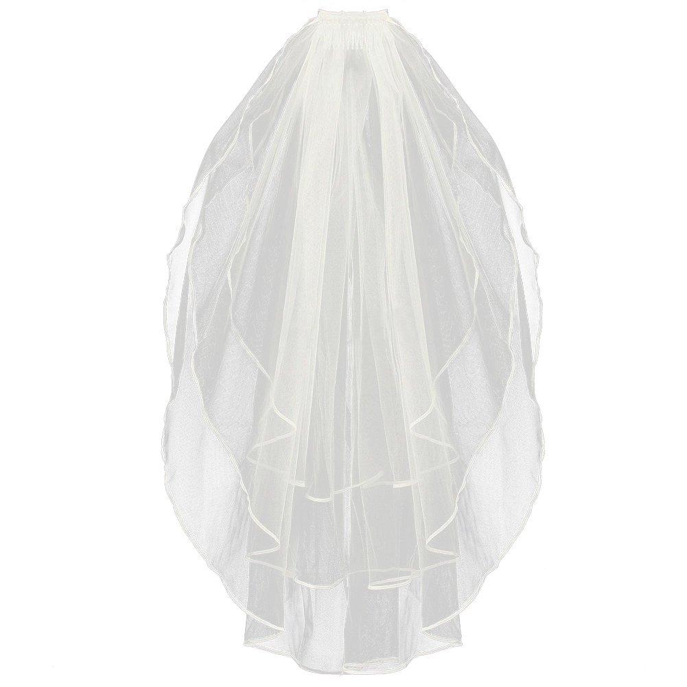 SZTARA Ladies 3 Tier Wedding Dress Veil Bridal Tulle Ribbon Edged Hair Accessories With Comb