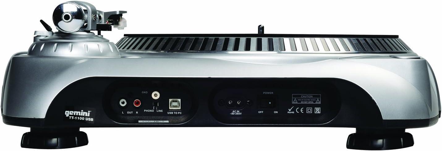 Amazon.com: Gemini TT-1100USB - Tocadiscos para DJ (conexión ...