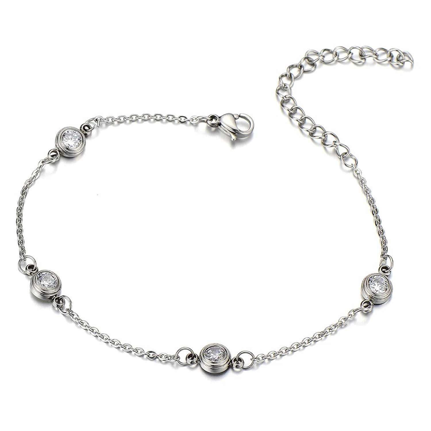 COOLSTEELANDBEYOND Stainless Steel Anklet Bracelet with Cubic Zirconia