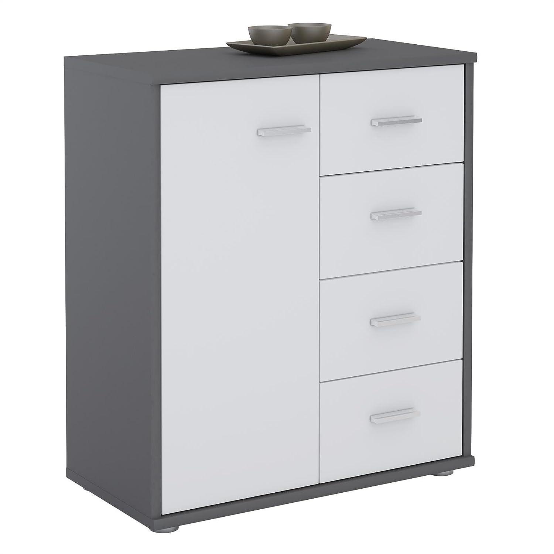 CARO-Möbel Kommode TIRANO Highboard Anrichte mit 1 Tür und 4 Schubladen in grau weiß