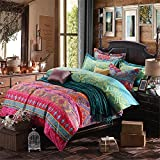 Bohemian Exotic Style 4-Piece Cotton Queen Bedding Duvet Cover Set, Pattern1