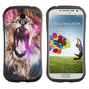 Fuerte Suave TPU GEL Caso Carcasa de Protección Funda para Samsung Galaxy S4 I9500 / Business Style lion purple roar yawn fur Africa abstract