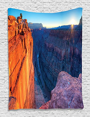 """National Landmarks Collection Sunrise in Grand Canyon National Park Cliff River View Picture Kids Girls Boys Red Blue Supersoft Throw Fleece Blanket 59.05""""X78.74"""""""