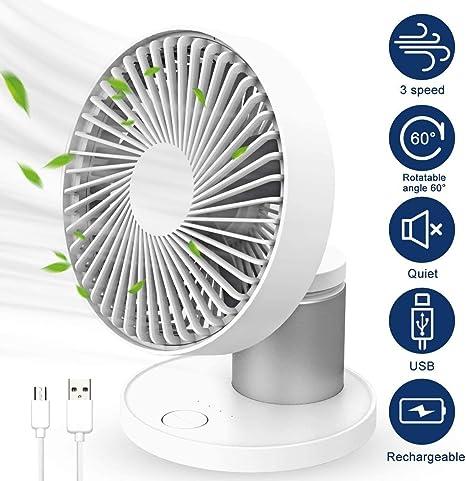 Collen Ventilateur USB, Ventilateur de Table Portable Ventilateur de Bureau en Métal à 3 Vitesses, Ventilateur Silencieux Rechargeable pour la