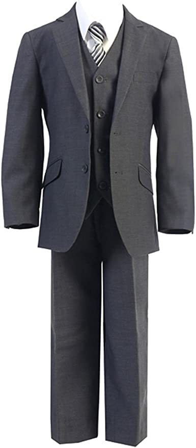 HBDesign Boys3 Piece 1 Button Notch Lapel Trim Fit Suit with Blue Vest