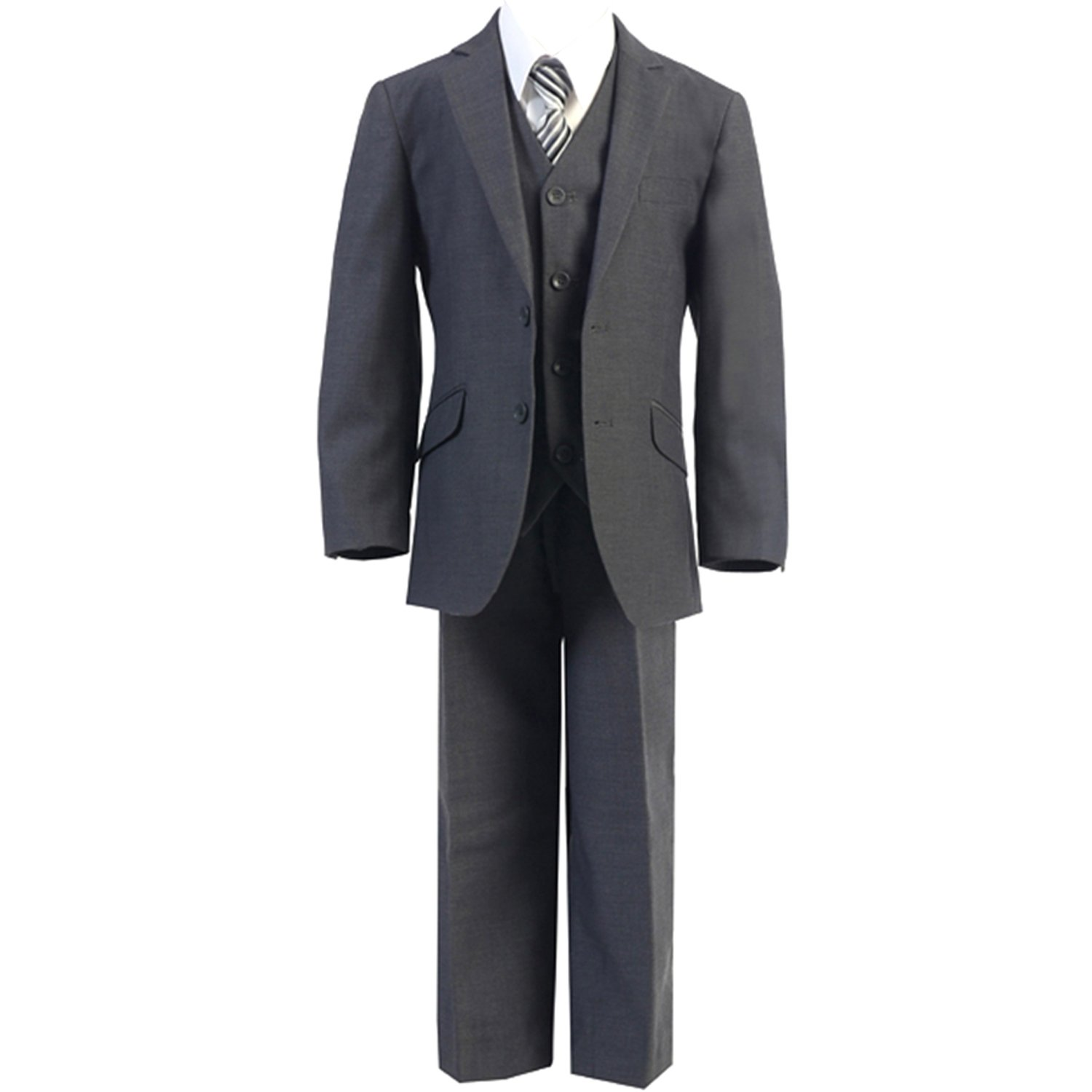 HBDesign Boys'3 piece 2 Button Notch Lapel Fit Formal Suite Dark Grey