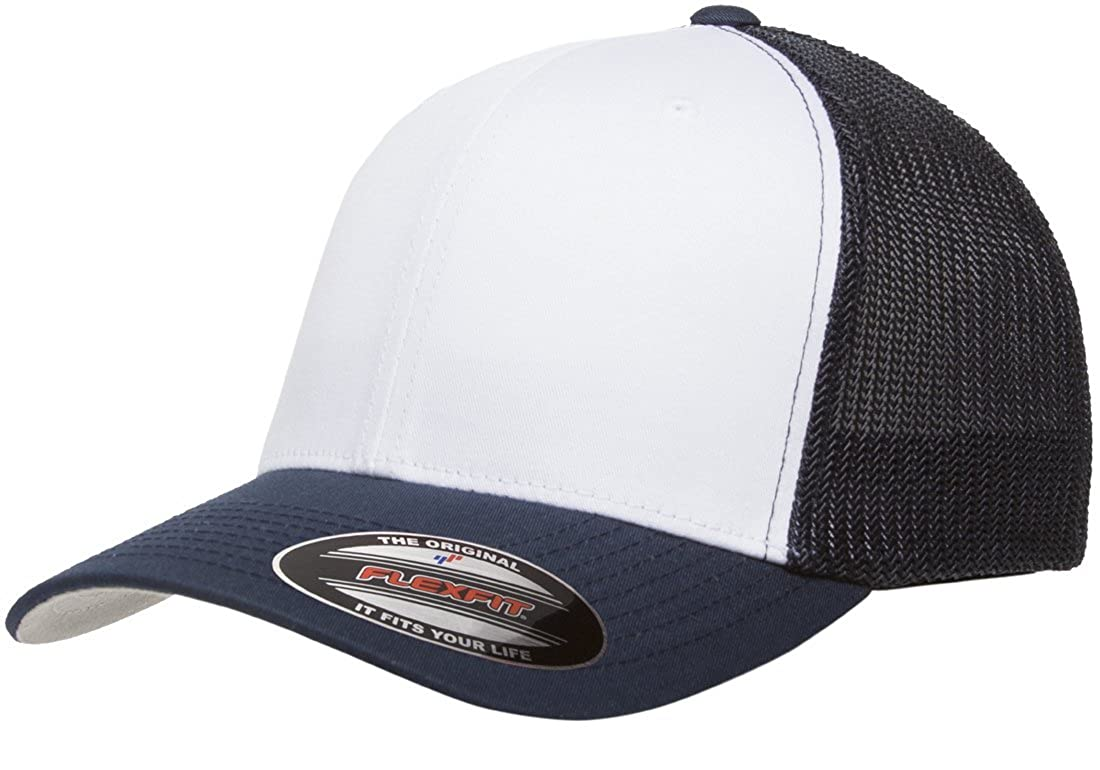 4976a571 Flexfit Trucker Cap. 6511 - Navy / White / Navy - One Size at Amazon Men's  Clothing store: Baseball Caps