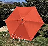 BELLRINO DECOR Replacement Orange STRONG & THICK Umbrella Canopy for 9ft 6 Ribs TERRA COTTA/BURNT ORANGE (Canopy Only)