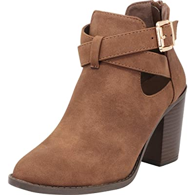 Cambridge Select Women's Strappy Crisscross Cutout Chunky Stacked Heel Ankle Bootie: Shoes