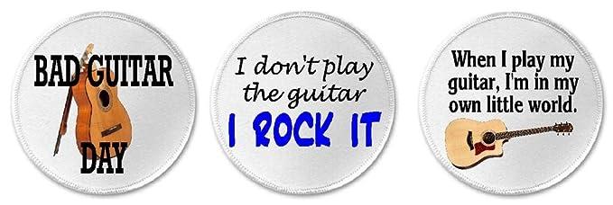 Set Of 3 Acoustic Guitar Guitarist Humor   3u0026quot; Circle Sew / Iron ...