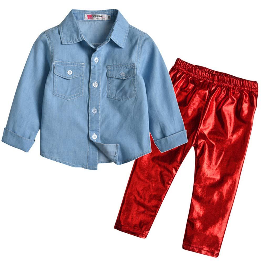 Mornyray Baby Kids Girls 2Pcs Clothes Set Long Sleeve Shirt+Shining Pants
