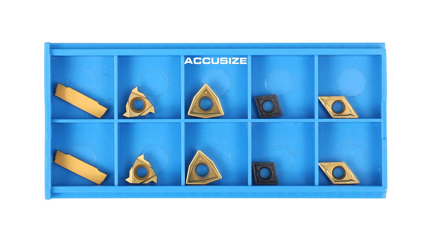 Total 10 Pieces Accusize Industrial Tools 2 Pc of Each Kind of Carbide Inserts for 2387-2004 CVD Coated and Tin Coated 2387-2004inserts