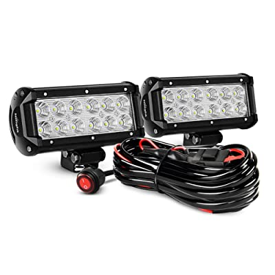 Nilight ZH008 2PCS 6.5 Inch 36W Flood Bar Led Work Driving Light with Off Road Wiring Harness, 2 Years Warranty: Automotive