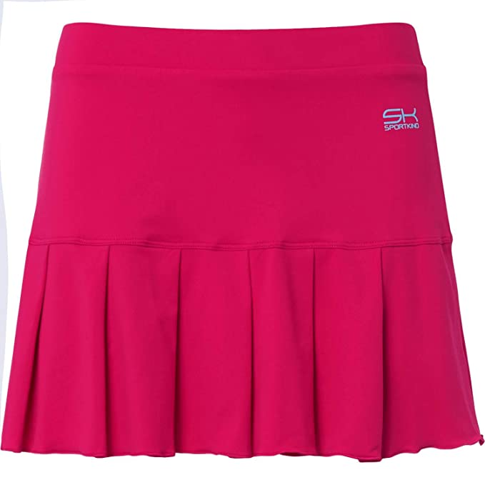 Falda corta deportiva de tenis de color rosa flúor