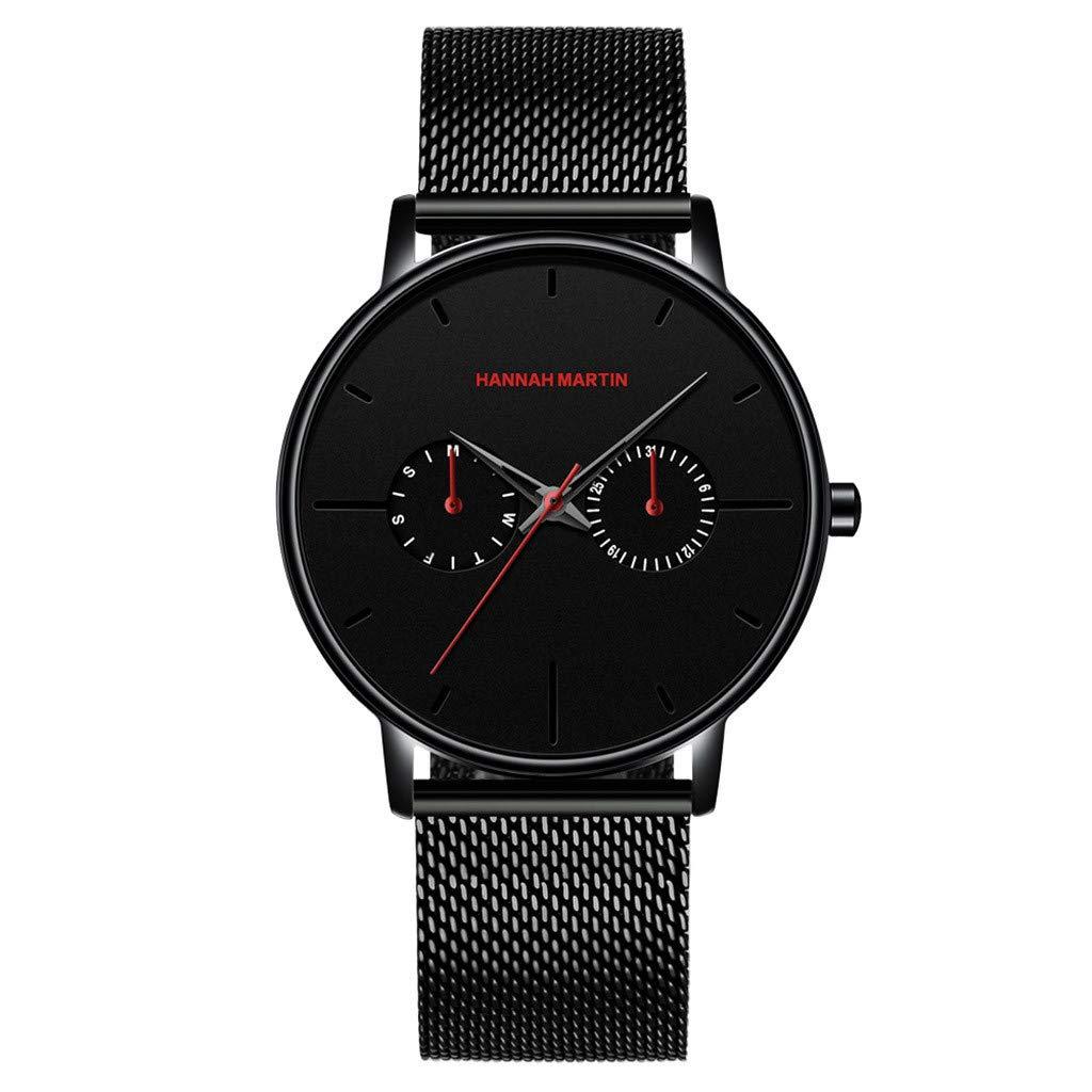 Wrist Watch for Men Waterproof Leather Fashion Simple Two Eye Four Needle Mesh Belt Quartz Watch