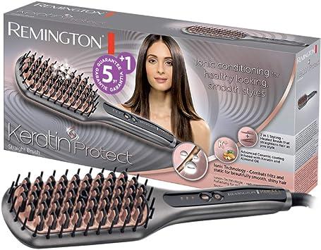 Remington Keratin Protect Straight CB7480 - Cepillo alisador, Cerdas de Cerámica, Keratina y Aceite de Almendras, Gris y Rosa: Amazon.es: Salud y cuidado personal