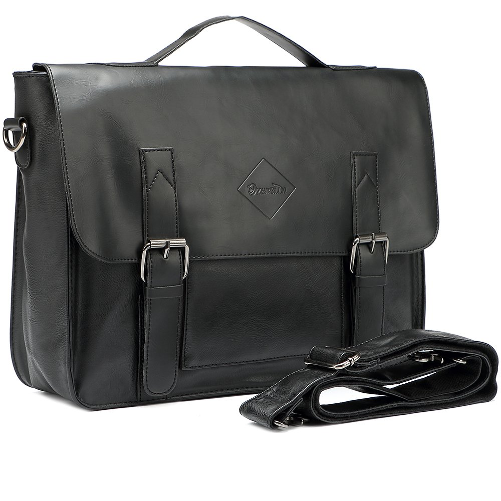 47d301898880 Amazon.com  Men Vintage PU Leather Briefcase 15 inch Laptop Shoulder Messenger  Bag Tote  Clothing