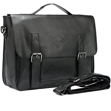 9e3f0490ab22 Image Unavailable. Image not available for. Color  Men Vintage PU Leather  Briefcase 15 inch Laptop Shoulder Messenger Bag Tote