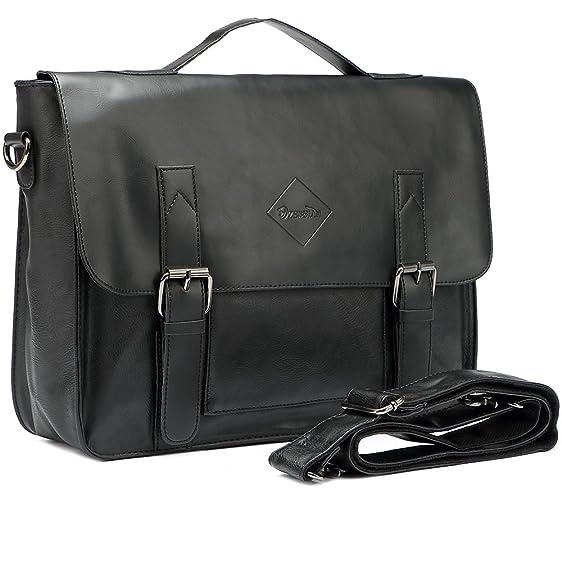 79ffea2f38c Zebella Vintage Pu Leather Briefcase Shoulder Business Laptop Messenger  Bags Tote for Men - Black