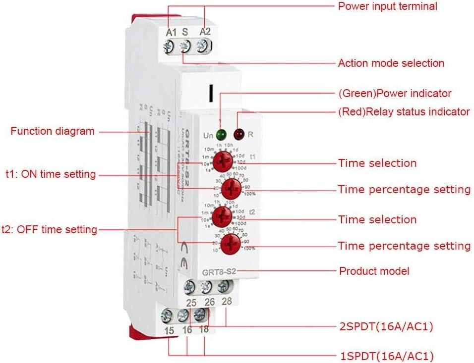 AC//DC 12-240V GRT8-S2 Mini Asym/étrique Cycle minuterie ON//OFF R/ép/étition du temps de cycle Relais Minuterie de cycle