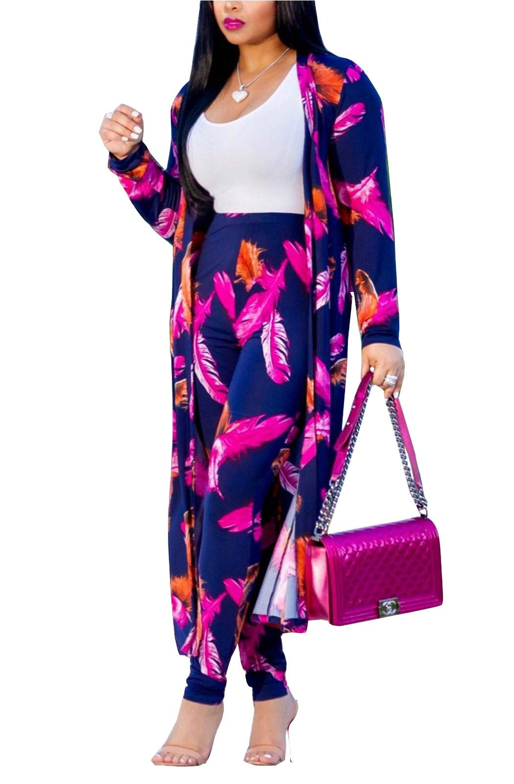 MarcoJudy Womens Long Sleeve Stripe and Floral Cardigan Cover up Long Pants 2 Piece Suit Set Outfits (Medium, Purple)