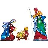 Lighted Outdoor Mosaic Nativity Christmas Scene - 3pc