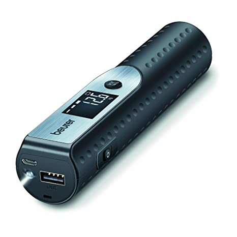 Beurer LS 50 - Bascula para Equipaje con Cargador para Smartphone, Linterna, Color Negro