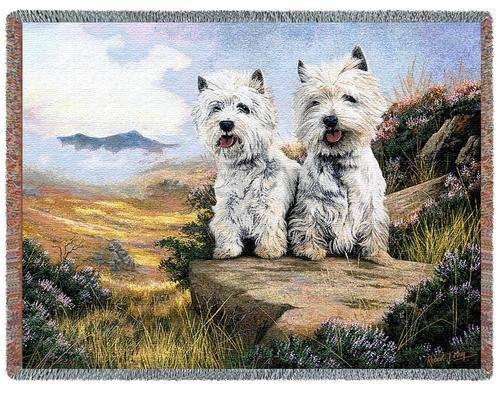 Pure Country Weavers - West Highland White Terrier 2 Woven Tapestry Throw Blanket with Fringe Cotton USA Size 72 x 54