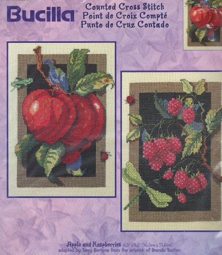Apple and Raspberries - Counted Cross Stitch Kit - Bucilla #42856 (Ladybug Raspberry)