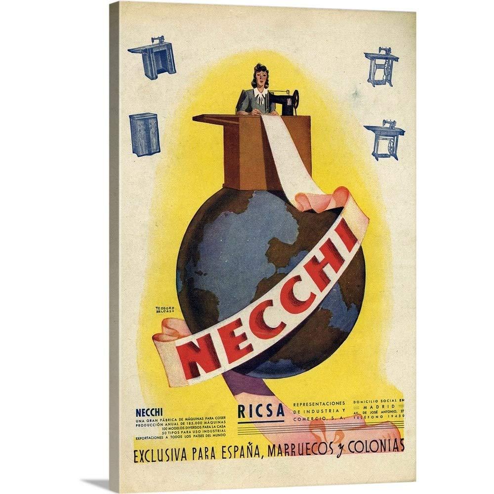 Amazon.com: Premium Thick-Wrap Canvas Wall Art Print Entitled Necchi Sewing Machine Advertisement 32