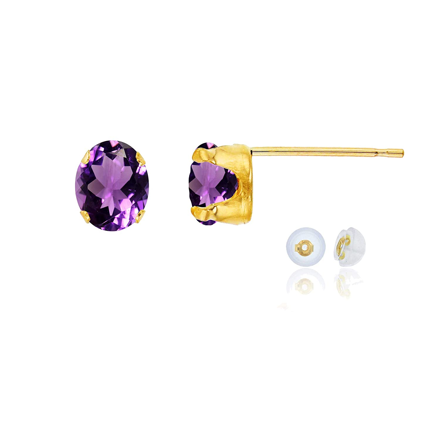 White or Rose Gold 7x5mm Oval Genuine Or Created Gemstone Birthstone Stud Earrings Solid 14K Gold or 14K Gold Plated 925 Sterling Silver Yellow