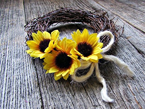 Sunflower & Twig Candle Ring Wreath for Pillars, Votives and Tapers- 2, 3, 4 or 5 inch- Flower Floral Table (Red Vines Halloween)