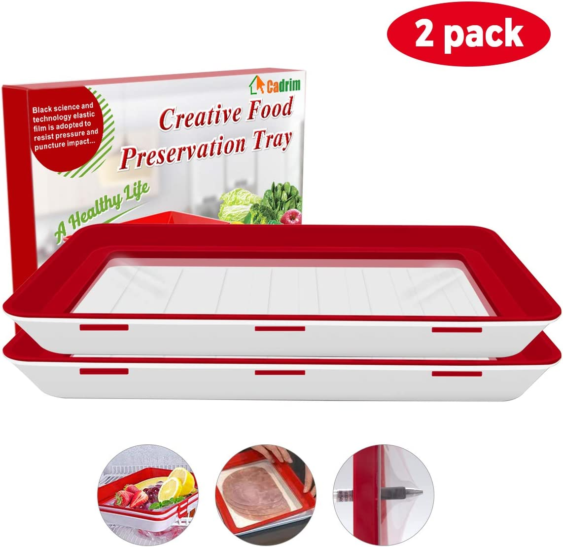 Cadrim Food Preservation Tray, Stackable BPA Free Plastic Food Storage Container with Elastic Reusable Locking Lid for Refrigerator and Freezer Flat Food ONLY (Red, Square, 2 Pack)