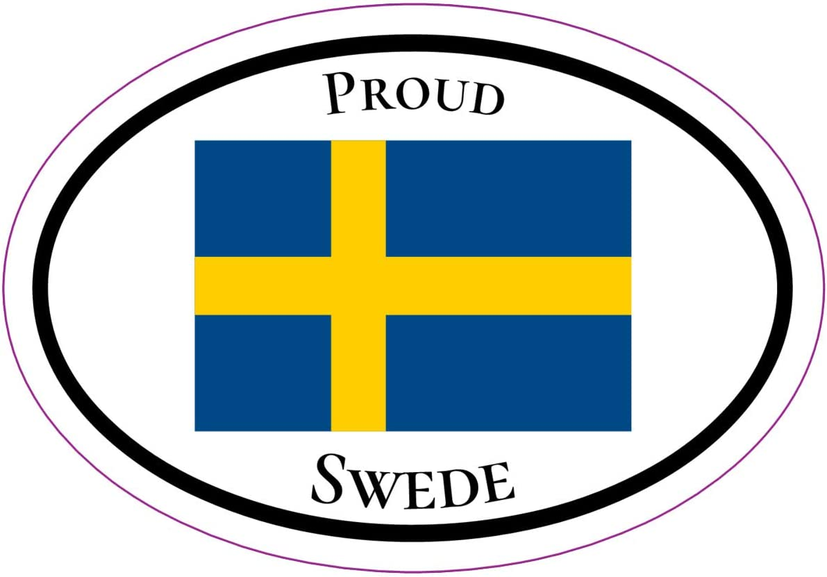 WickedGoodz Oval Proud Swede Vinyl Decal Perfect Sweden Gift Swedish Flag Bumper Sticker