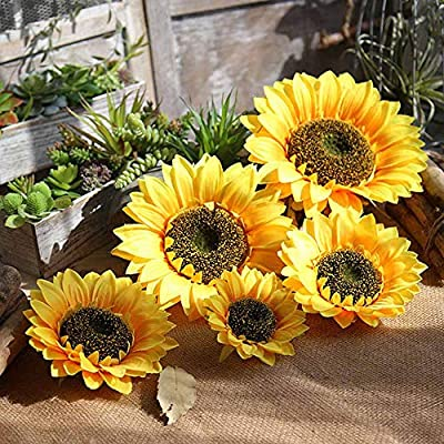 Beyonds Home Decor Artificial Flowers, Sunflower Flowers Silk Real Touch for Home Office Livingroom Table Vase Garden Outdoor Party Decoration Bouquet Gift Bridal Wedding: Kitchen & Dining