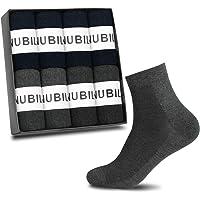 NUBILY 靴下 メンズ ビジネスソックス 綿 高通気性 8足セット 抗菌防臭 24-28cm 銀イオン加工 吸汗 耐摩耗性 黒 ネイビー グレー 四季適用
