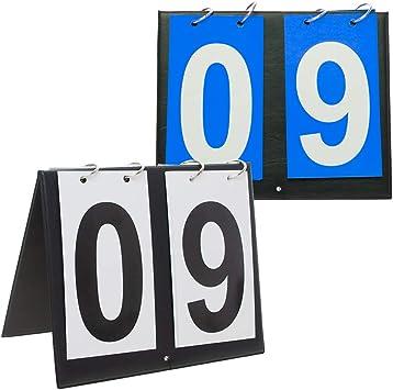Gogo 2 Juegos de marcadores de Mesa portátil para Deportes, 00 – 99-2TEKM-AK02722Q2_BLACKNUMBERBLUECARD, Talla única, Número Negro + Tarjeta Azul.: Amazon.es: Deportes y aire libre