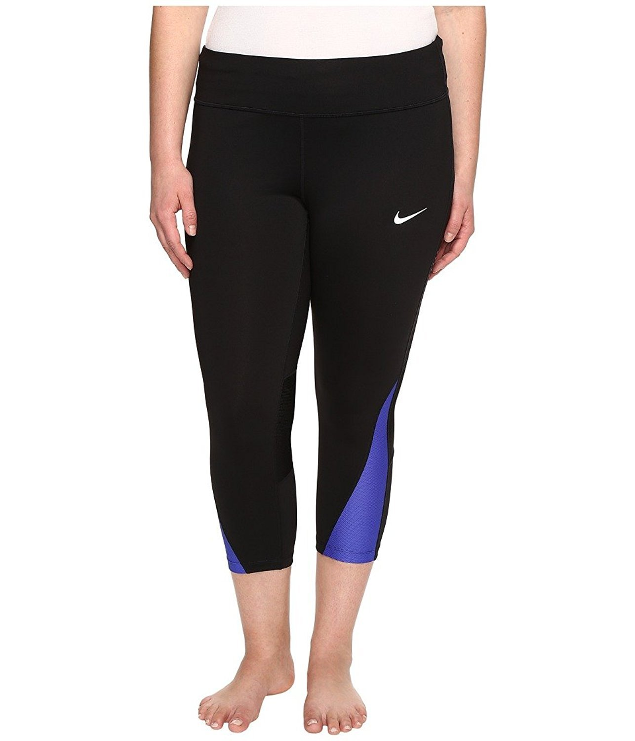 NIKE Womens Plus Compression Crop Capri Pants Black 1X
