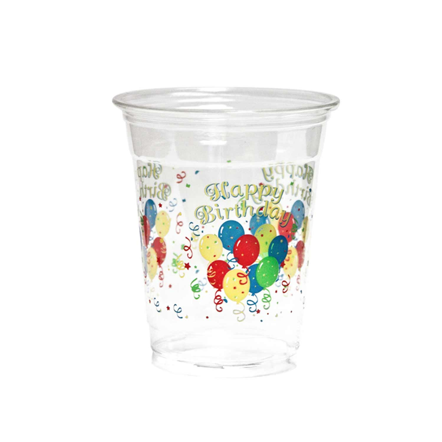 Party Essentials 20 Count Soft Plastic Printed Party Cups, 12-Ounce, Happy Birthday
