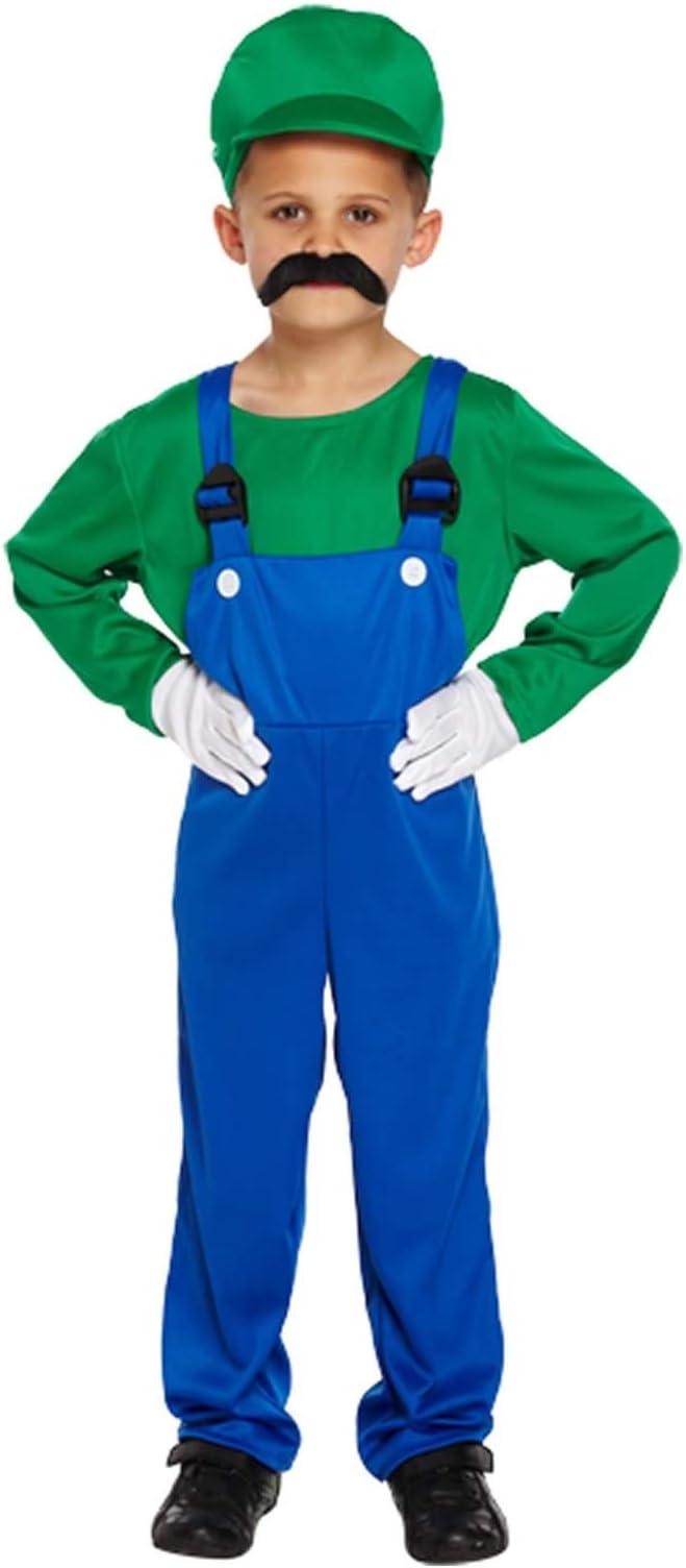 Disfraz para niños de Luigi verde trabajador talla L edades 10-12 ...