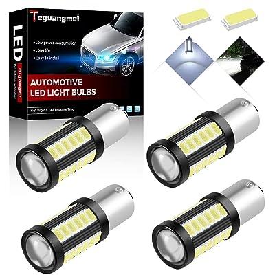 Teguangmei 4pcs 1156 BA15S P21W 1141 7056 Car LED Bulbs Reversing Light Brake Light Rear Fog Lamps 900Lumens High Bright White Waterproof 5730 33-SMD Position Light Tail Light 12-30V 3.6W: Automotive