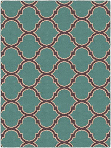 Brumlow Mills Two Toned Moroccan Trellis In Teal Traditional Lattice Area Rug, 7 6 x 10 ,